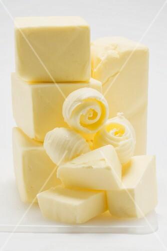 Blocks of butter and butter curls (butter mountain)