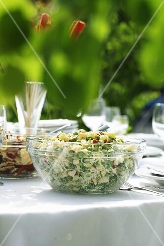 Pea and leek salad