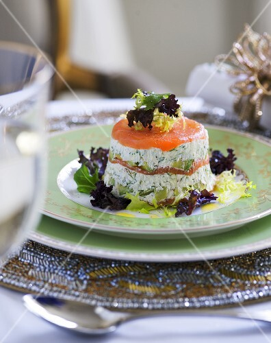Festive salmon and cream cheese timbale