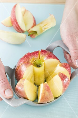 Apple with apple slicer and corer