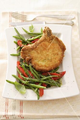 Pork chop with Parmesan crust