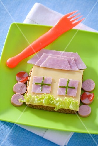 Fun cheese and ham sandwich (a house)