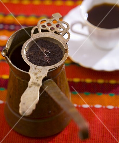 Turkish coffee with pot and strainer
