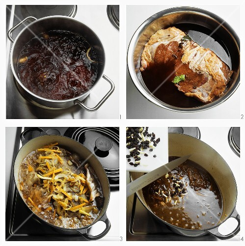 Preparing Rhenish braised pickled beef