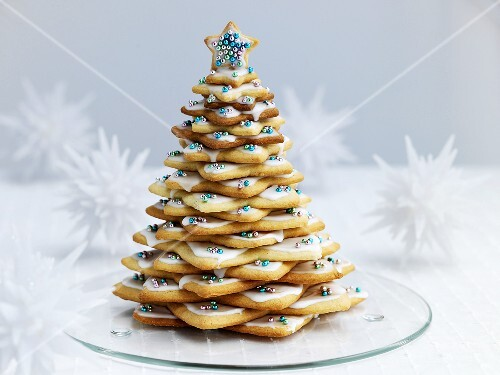 Shortbread Christmas tree with silver pearls