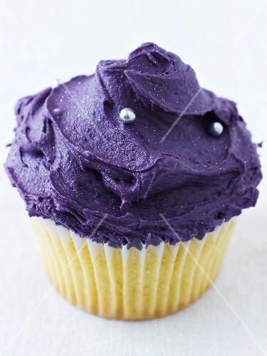 Cupcake with purple icing