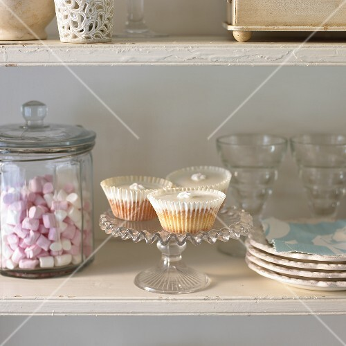 Cupcakes and marshmallows on buffet