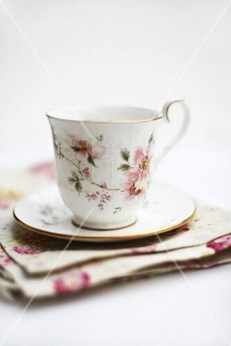 Floral teacup and saucer