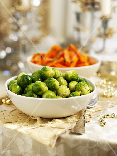 Brussels sprouts and carrots to serve with Christmas dinner