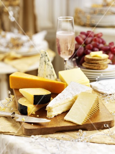 A selection of English cheeses as part of Christmas dinner