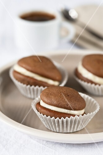 Three chocolate whoopie pies in praline cases