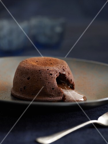 Chocolate pudding with soft centre