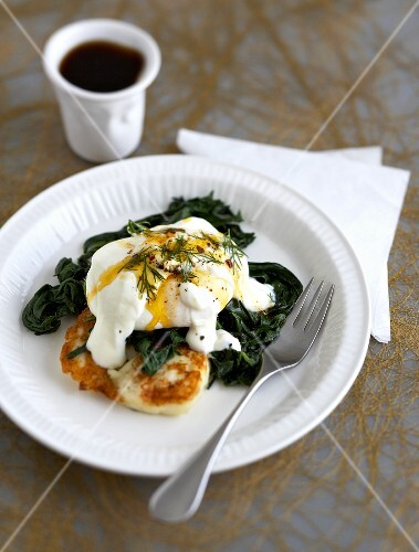 Poached egg on potato pancake and spinach