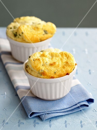 Two cheese and spinach soufflés