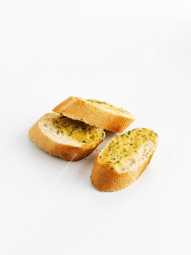 Three slices garlic bread