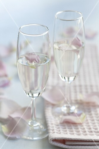 Two glasses of Prosecco with rose water