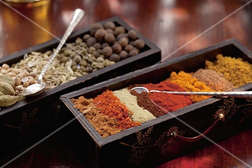 Various spices in a wooden box (Arabia)