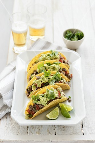 Tacos with beef and guacamole