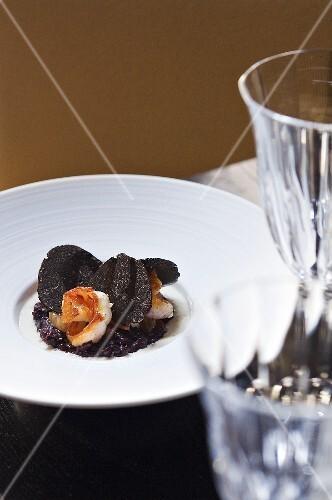 Black truffle with prawns