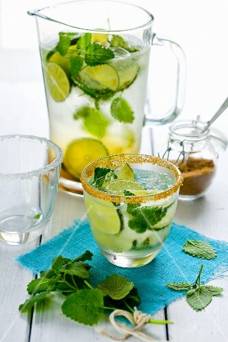 Summer lemonade in a glass and a jug