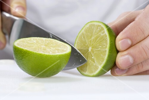 A lime being halved