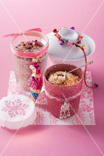 Rose and cinnamon salt and thai curry salt as a gift