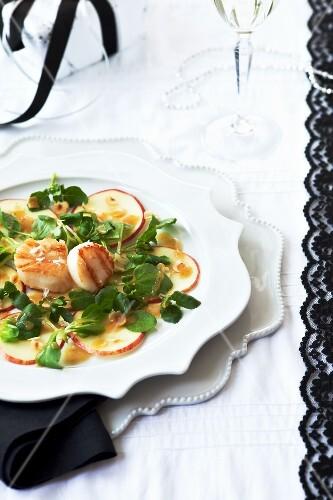 Apfelcarpaccio mit Jakobsmuscheln, Feldsalat und Senfdressing (weihnachtlich)