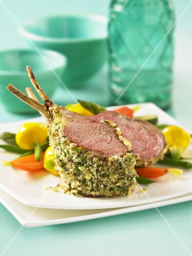 Rack of lamb with herb crust and vegetables