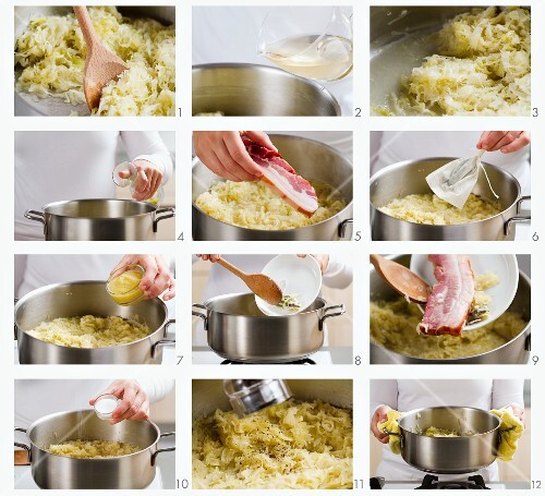 Sauerkraut and bacon being prepared