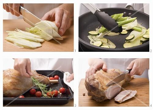 Preparing leg of lamb with vegetables