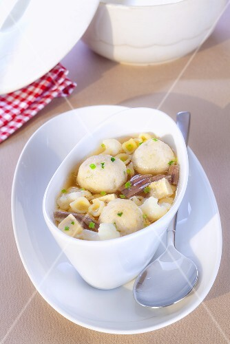 Spring soup with beef, noodles and bone marrow dumplings