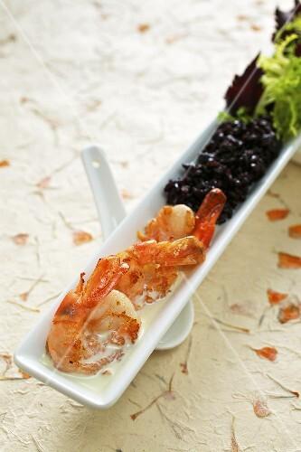 Black rice with coconut shrimp