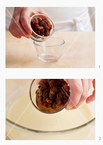 Added softened raisins to the pancake batter