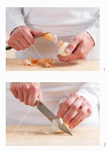 Zwiebel schälen und in feine Ringe schneiden