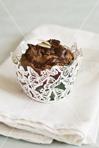 A gluten-free chocolate cupcake