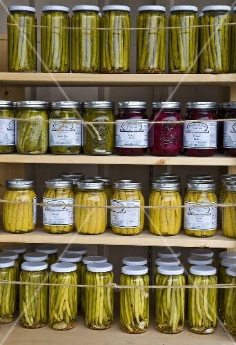 Preserved vegetables in screw top jars