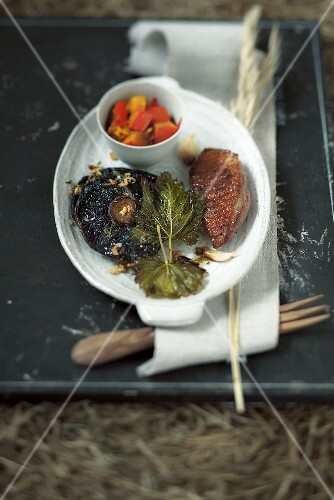 Gebratene Entenbrust mit Kürbisgemüse und Portobellopilz