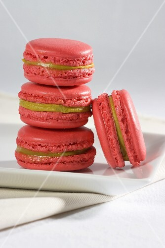 A stack of pink macaroons