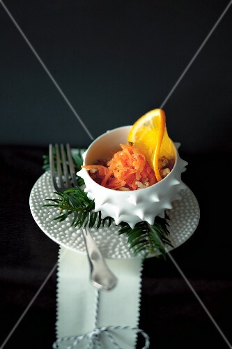 Iced carrot salad with oranges for Christmas