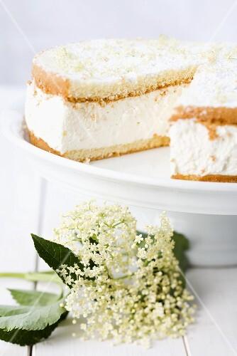 Elderflower cream cake, sliced