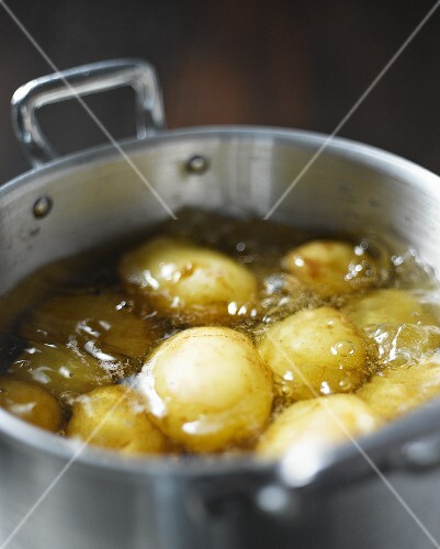 New potatoes being cooked