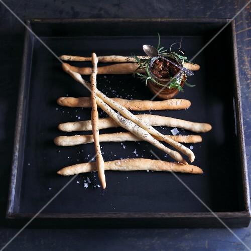 Grissini al papavero (bread sticks with poppy seeds and salt)