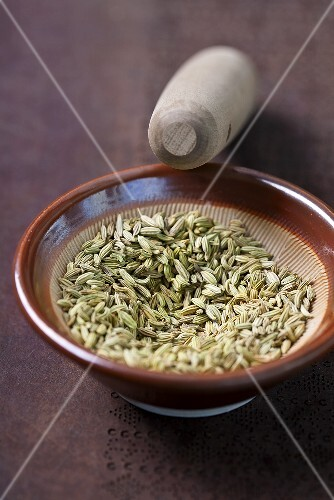 Anise seeds in a mortar