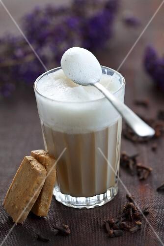 Chai tea latte with milk foam