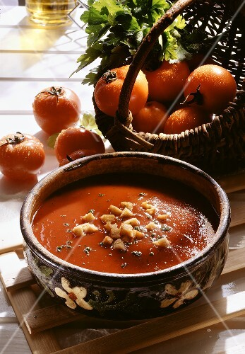 Chilled Tomato Soup with Croutons