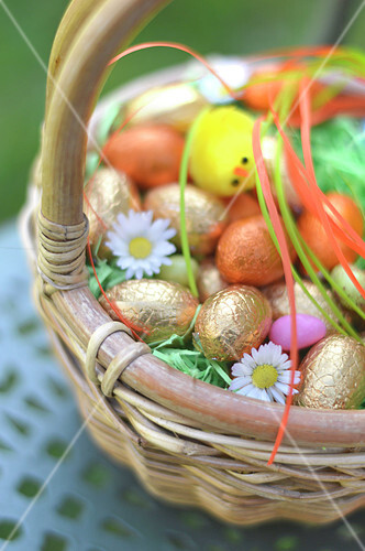 Small basket of Easter eggs outdoors
