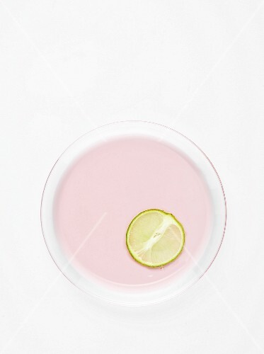 Slice of lime and perfumed pink jelly