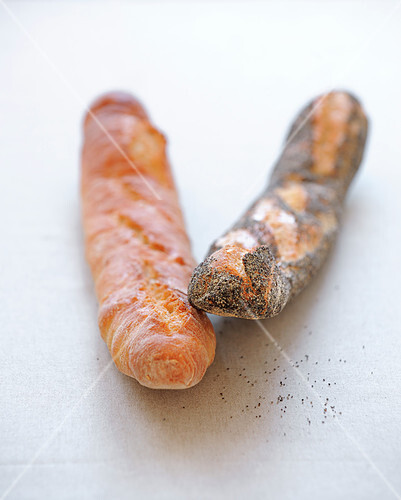 Traditional baguette and poppyseed baguette