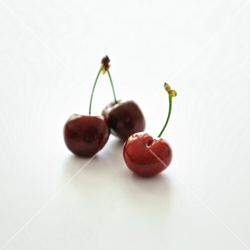 Cherries on a white background