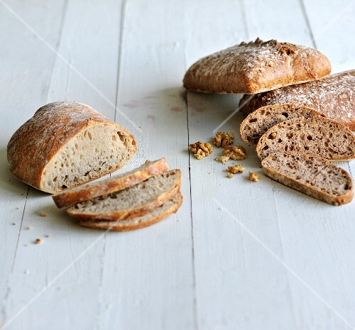 White bread and walnut bread